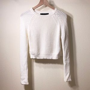 Lara Knit Ivory White Long Sleeve Knit Sweater